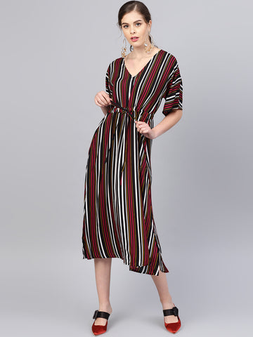 Wine Multi stripe Kaftan Midi Dress