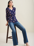 Navy Blue Bird Printed Top