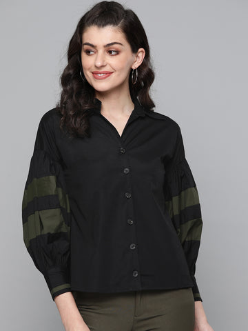 Black Cotton Contrast Detail Shirt