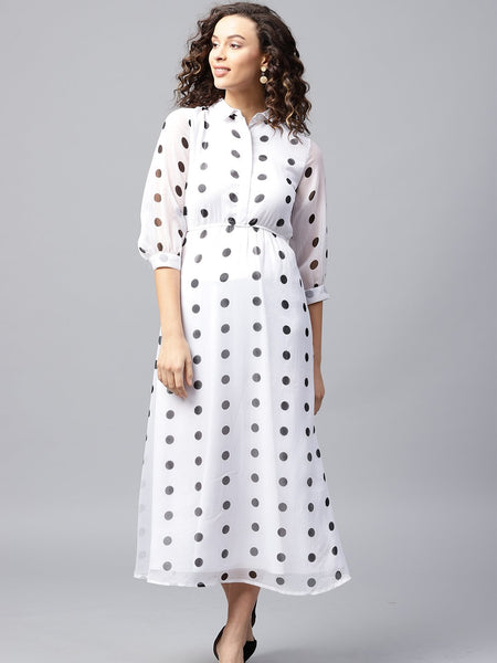 White & Black Polka Dot Maxi