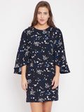 Navy floral printed shift dress