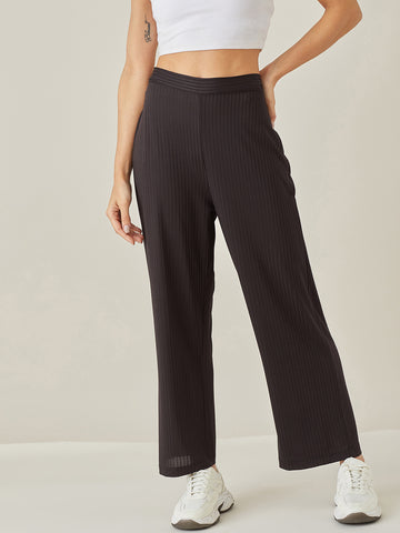 Black Ribbed Jersey Lounge Pants