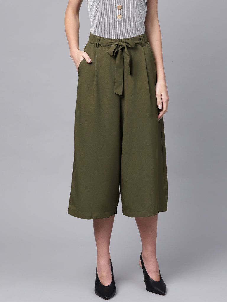 Olive elasticated tie up pants