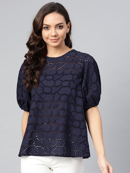 Navy Schiffly Puffed Sleeve Top
