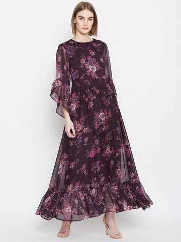 Wine Print Flared Sleeve Maxi