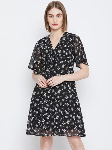 Black Ditsy Print Front Tie-Up Skater Dress
