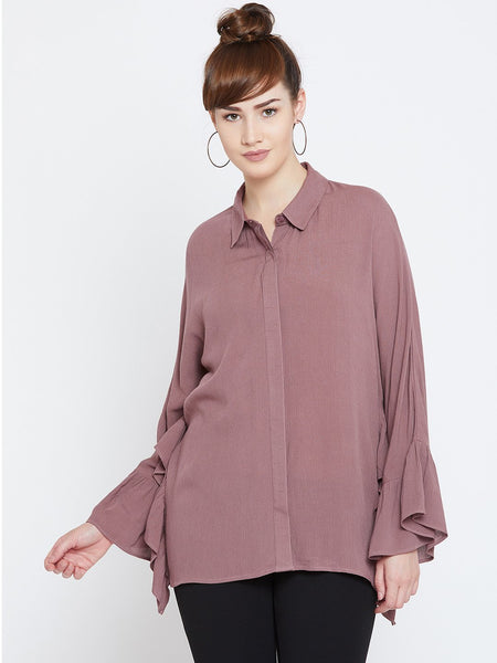 Dusky Pink Ruflle Detail Top