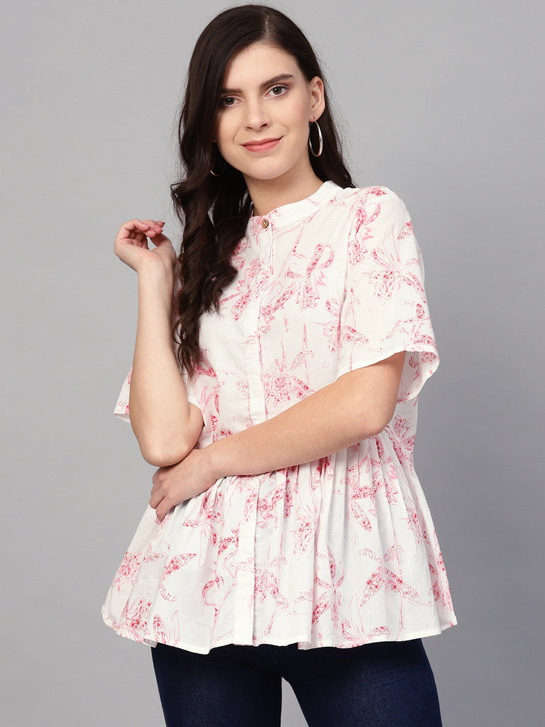 White/red print pleated peplum top