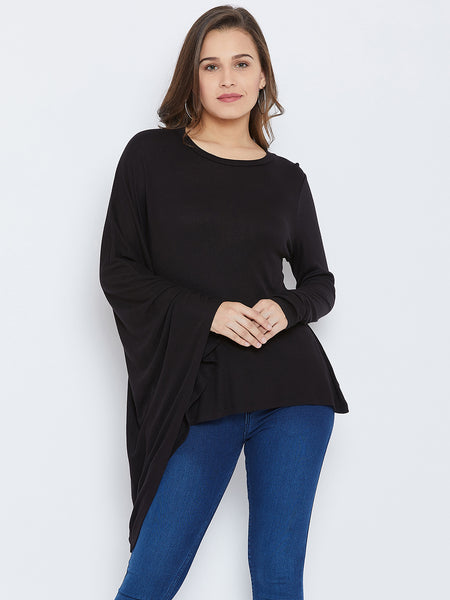 Black assymetric hem top