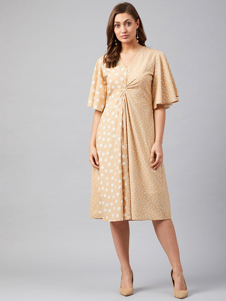 Beige Mix Polka Dot Midi Dress