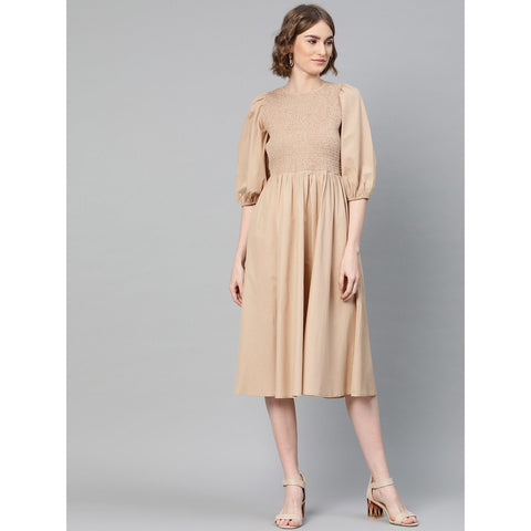 Beige Cotton Smocked Midi Dress