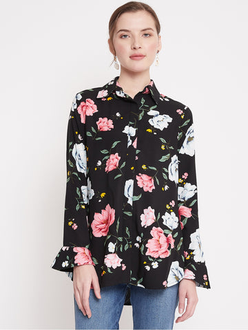 Black Floral Button Down Shirt
