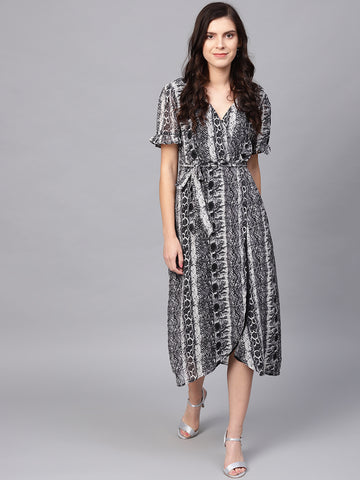 Grey snake print wrap midi dress