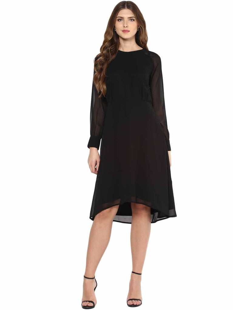 Black High Low Midi Dress