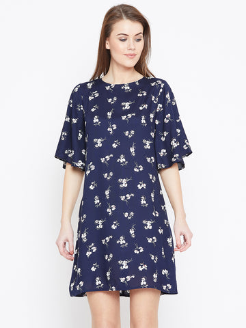 Navy printed back detail dress