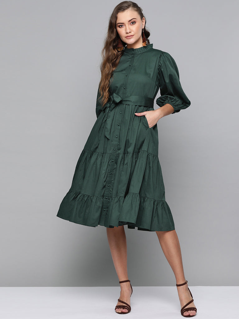 Emerald Cotton Tiered Fit & Flare Midi Dress
