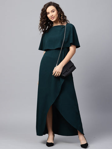Bottle Green Formal Cape Maxi Dress