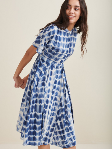 Blue Tie And Dye Button Down Shirt Dress