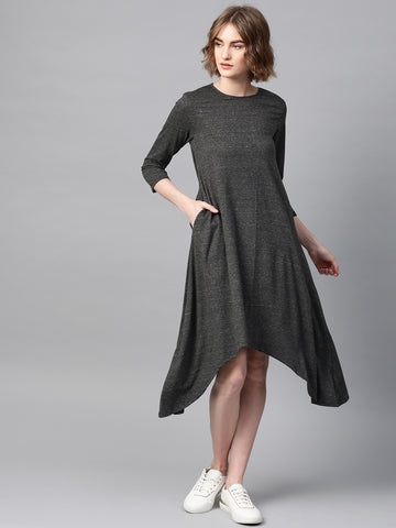 Dark Grey Hi-Low Jersey Dress