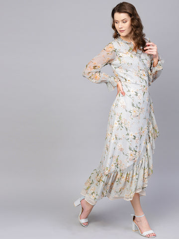 Mosaic Floral Ruffled Wrap Maxi Dress