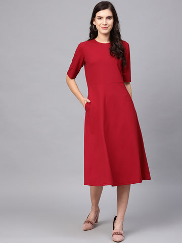Red Fit & Flare Midi Dress