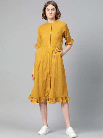 Mustard Ruffled Midi Dress