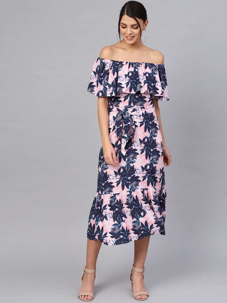 Pink Tropical Off-Shoulder Midi