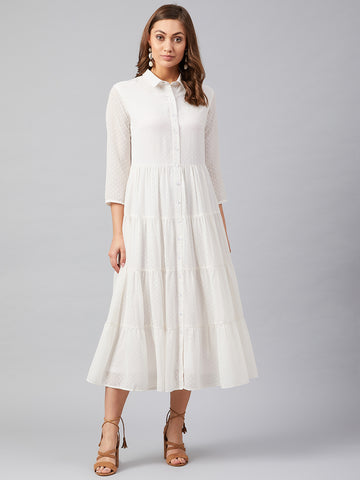 White Dobby Tiered Shirt Dress