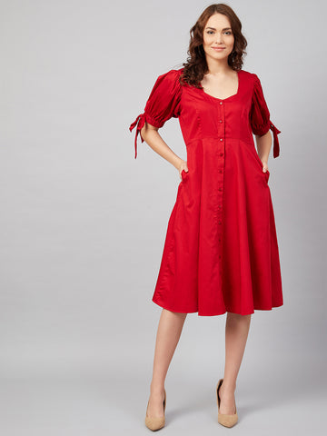 Red Cotton Tie up Detail Midi Dress