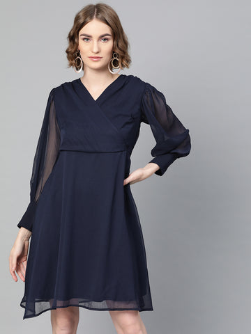 Navy Flared Mini Swing Dress