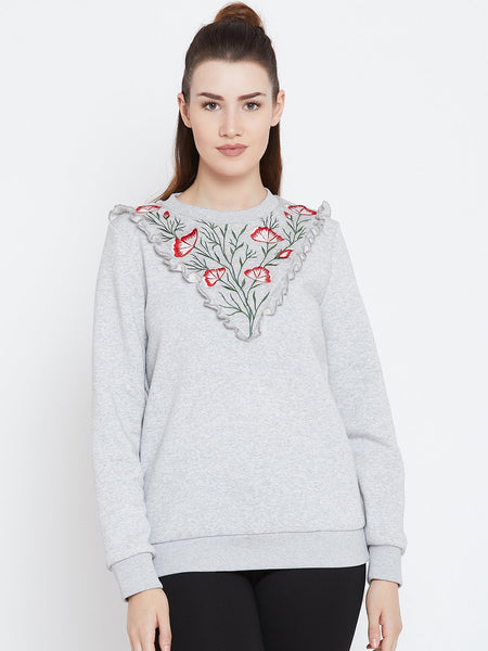 Grey Front Ruffle Embroidered Sweatshirt