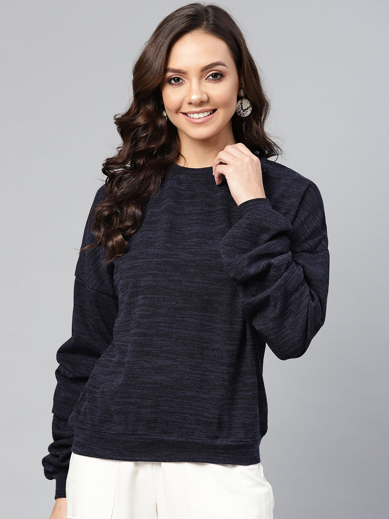 Navy Melange Gathered Detail Sweatshirt