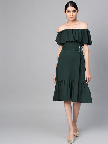 Emerald Off-Shoulder Midi