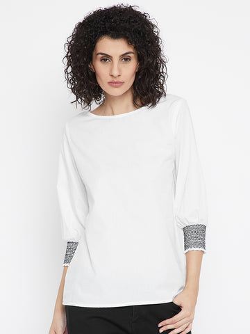 White Top With Smocked Cuff