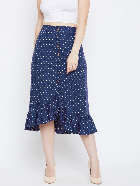 Blue Polka Ruffle Detail Midi Skirt