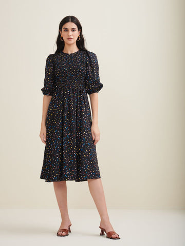 Black Confetti Printed Cotton Smocked Dress