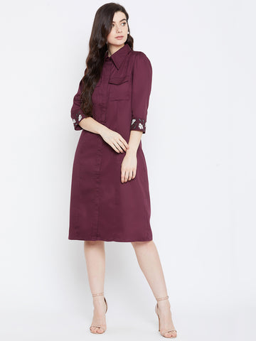 WINE EMBROIDERED CUFF MIDI SHIRT DRESS