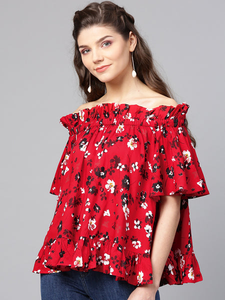 Red Printed oversized ruffle Top