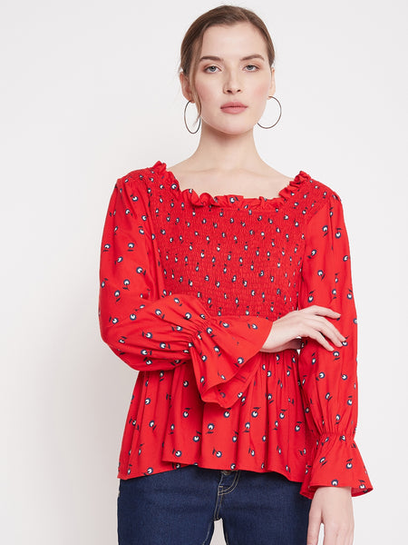 Red Ditsy Floral Smocked Top