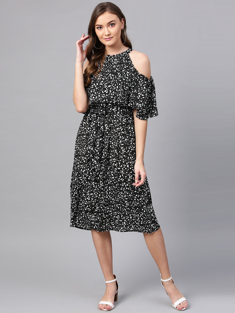 Black Dots and Flakes Cold shoulder Dress