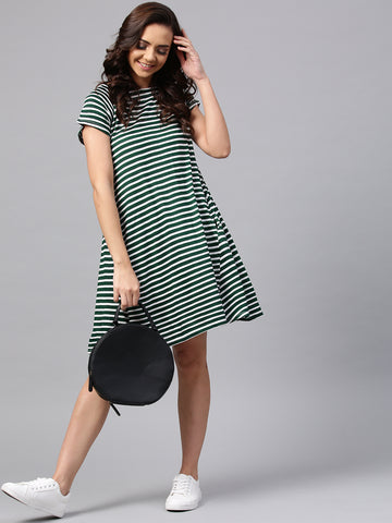 Emerald Stripe Swing Dress