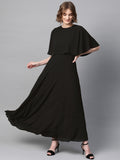 Black Cape Overlay Maxi Dress