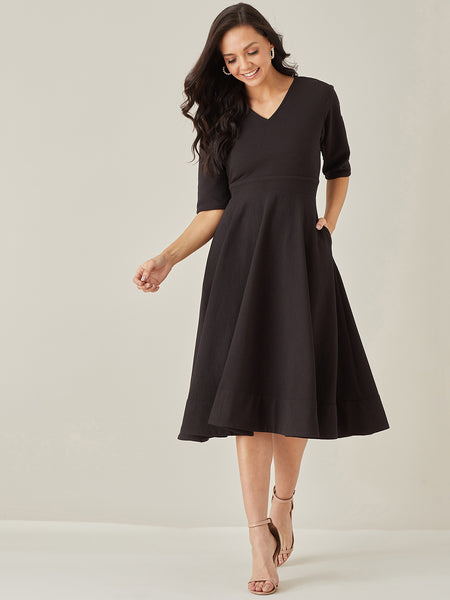 Black Textured Fit & Flare Midi Dress