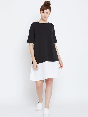 Black colour block t shirt dress