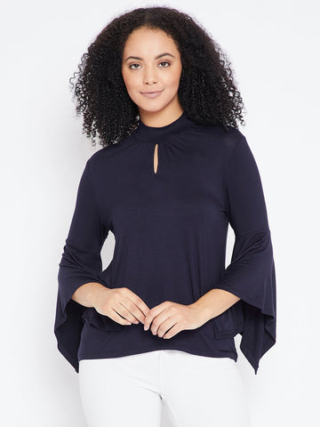 Navy chocker neck top