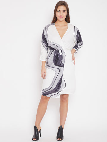White Marble Print Wrap Pleated Dress