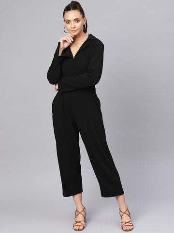 Black Button Down Lapel Jumpsuit