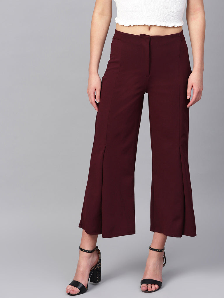 Wine front slit detail pants