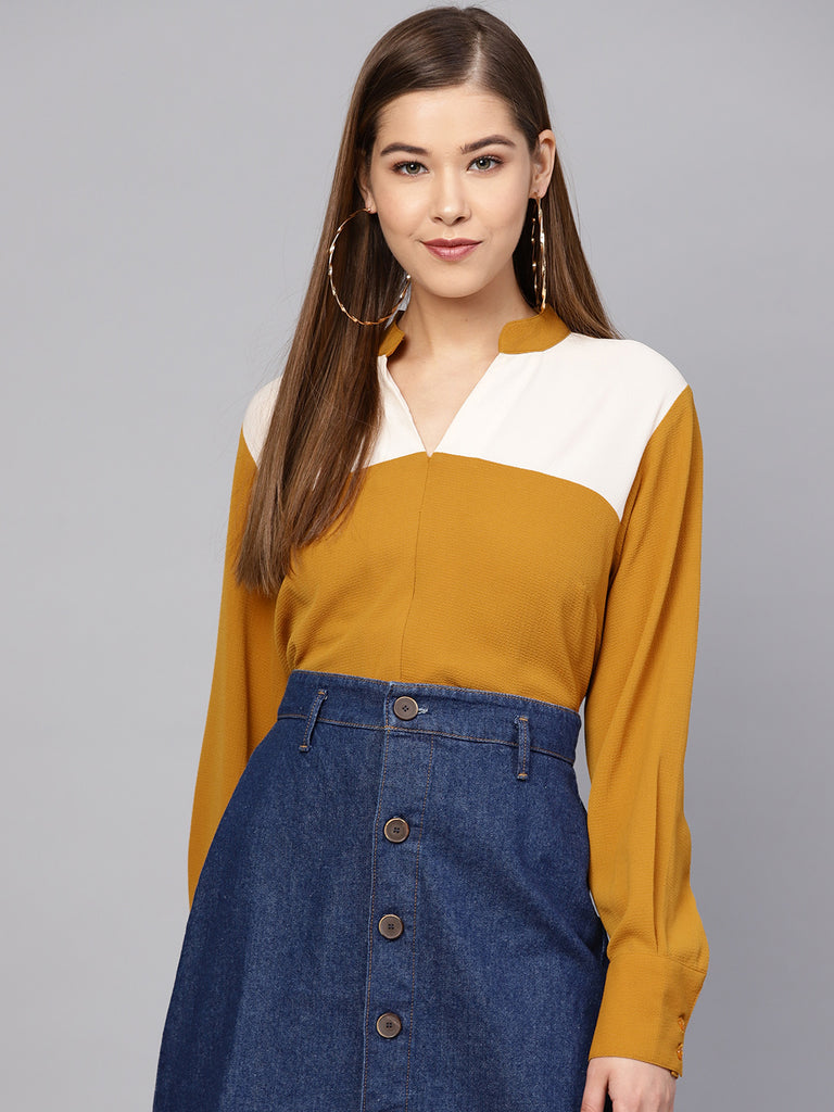 Mustard Ecru Color Blocked Top