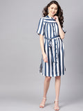 Navy Striped Button Down Dress